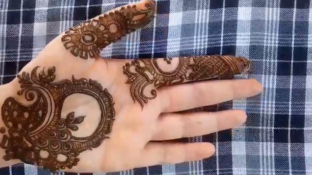 Front Hand Henna Mehndi Design : Quick and simple front side henna mehndi design for hands