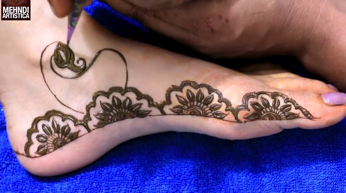 Leg Mehndi Designs Step By Step : Half mandala leg mehndi design step by tutorial