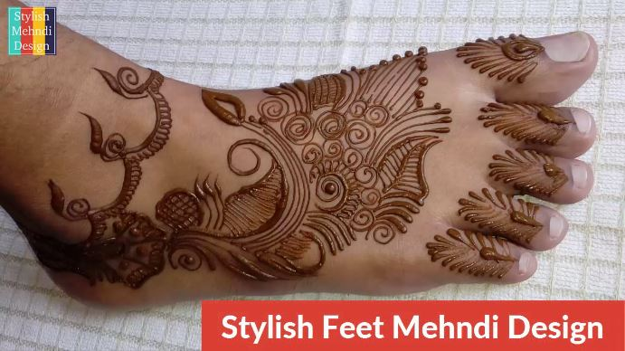 Easy Feet Mehndi Designs : Latest feet henna simple and easy mehndi design for