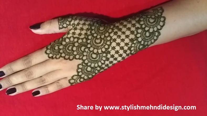 Mehndi Designs Hands Net Simple Easy : Simple back hand net gloves mehndi design designs